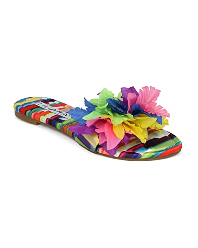 4407cee8122b Liliana Carnival-1 Sunflower 3D Flower Decor Open Toe Flat Designer Summer  Mule Slide (