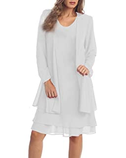 6ac30e5cfa6 KENANCY Women s Plus-Size Chiffon Jacket Dress Mother of The Bride Dress  Suit