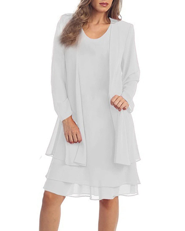 KENANCY Women\'s Plus-Size Chiffon Jacket Dress Mother of The Bride ...