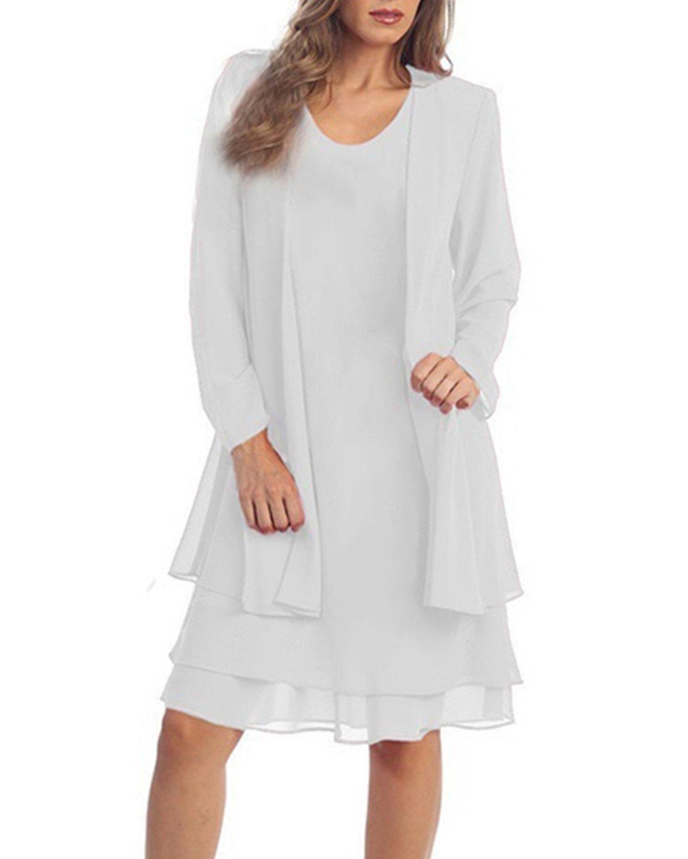 KENANCY Women\'s Plus-Size Chiffon Jacket Dress Mother of The Bride Dress  Suit-White-XL