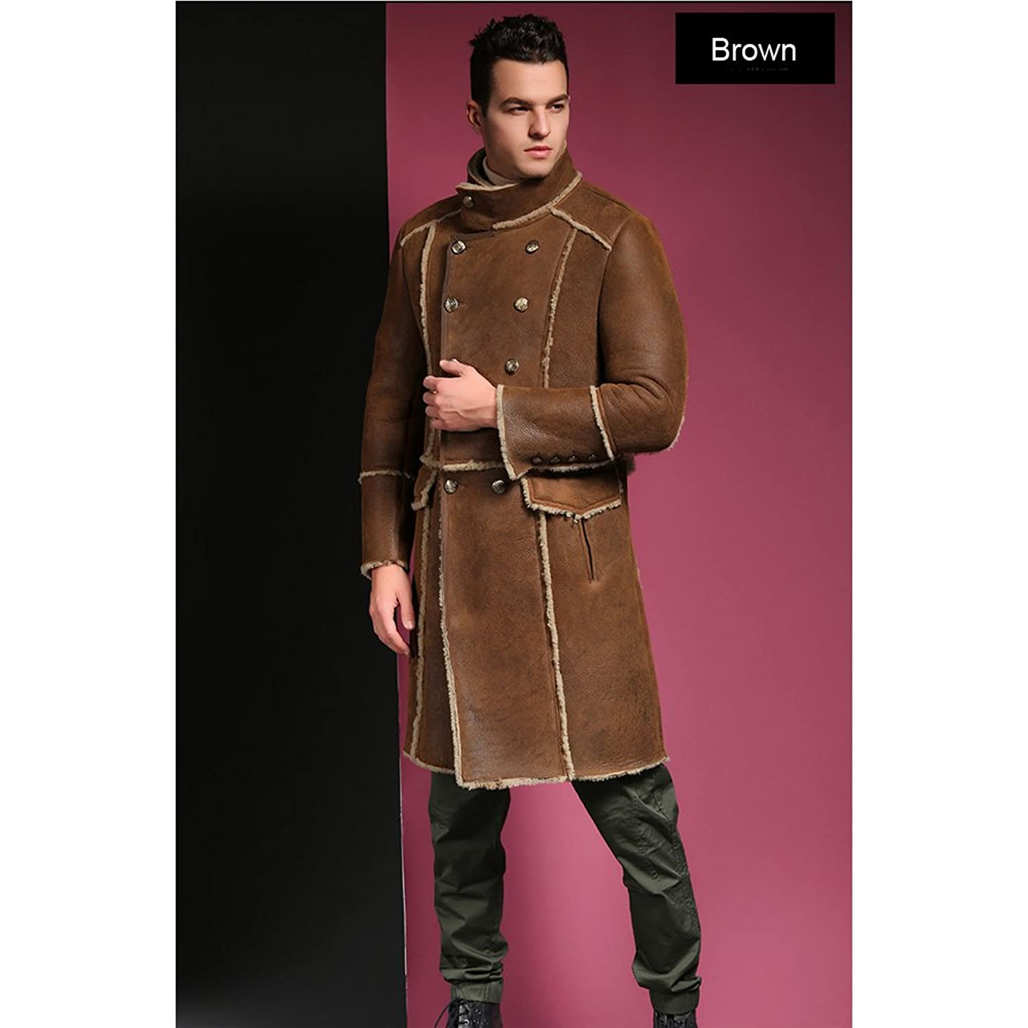 SANI Genuine Leather Long Sheepskin Fur Shearling Men Winter Fur Clothing:  Amazon.ca: Clothing & Accessories