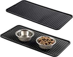 mDesign Premium Quality Pet Food and Water Bowl Feeding Mat for Dogs and Puppies - Waterproof Non-Slip Durable Silicone Placemat - Raised Edges, Food Safe, Non-Toxic - Small, 2 Pack - Black
