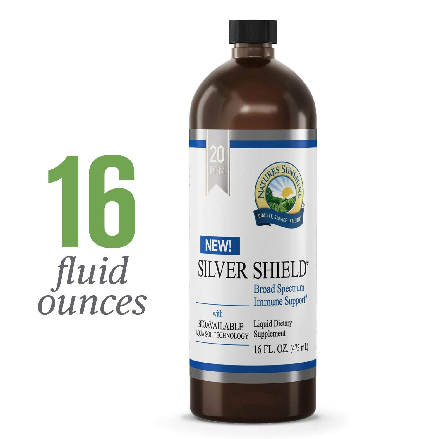 Nature's Sunshine Silver Shield Liquid, 16 fl. oz.   Colloidal Silver Liquid with Aqua Sol Technology Provides Immune Support and Protection by Nature's Sunshine