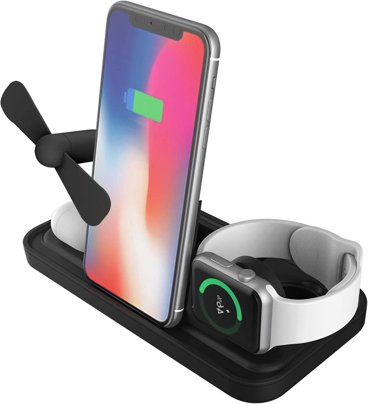 Wireless Charger, Wireless Charging Station 3 in 1 Charging Dock, Qi-Certified Magnetic Charger Stand for iPhone 12/11 Series/SE/XS/XR/8, Apple iWatch Series 5/4/3/2/1, AirPods, (with a Mini Fan)