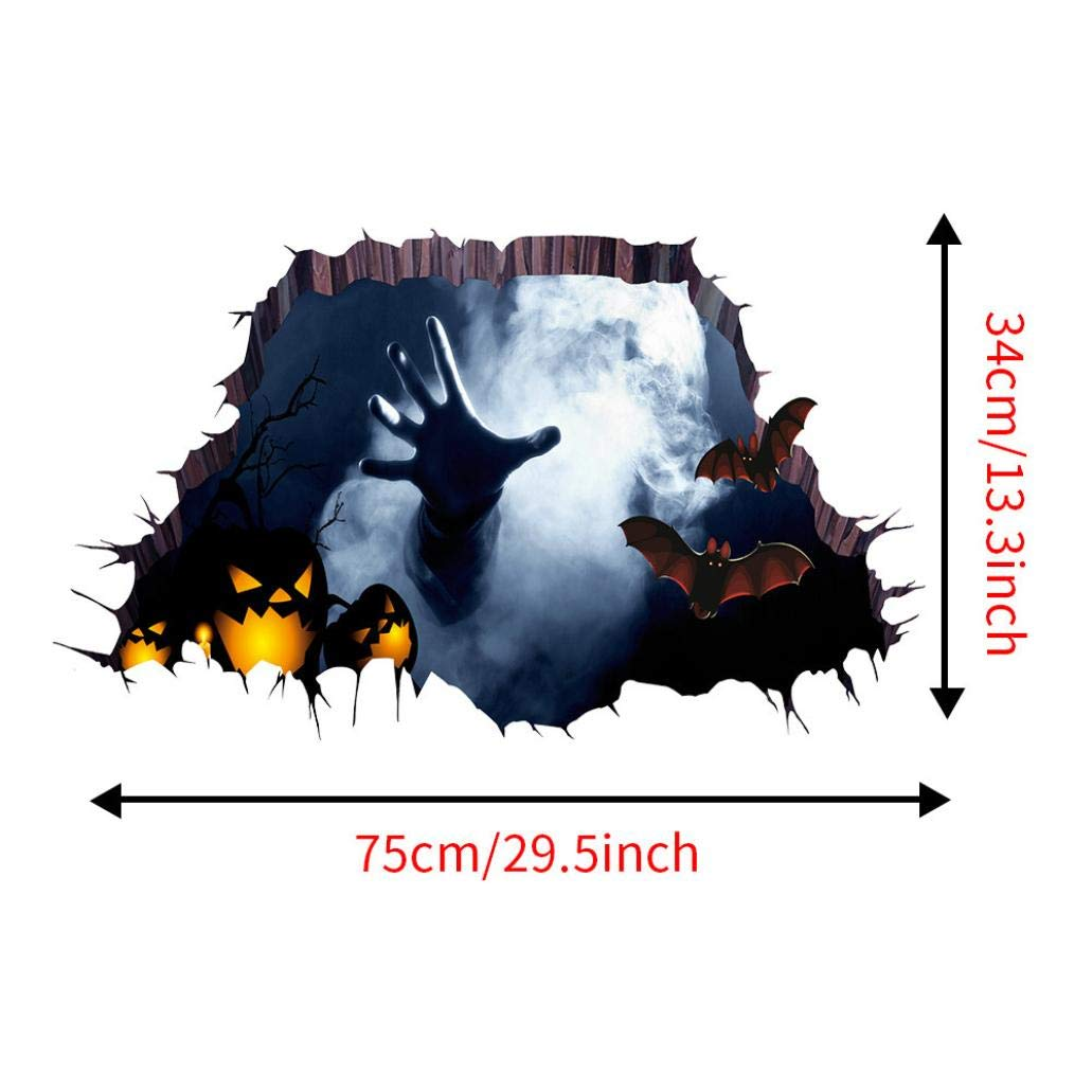 Lovewe Halloween Wall Sticker, Halloween Decoration, 3D Happy Halloween Household Room Floor Wall Sticker Mural Decor Decal Removable(75cmx34cm/90cmx60cm) (90cmx60cm)
