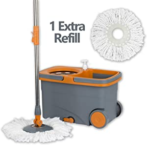 Casabella Graphite/Orange Spin Cycle Mop with Bucket