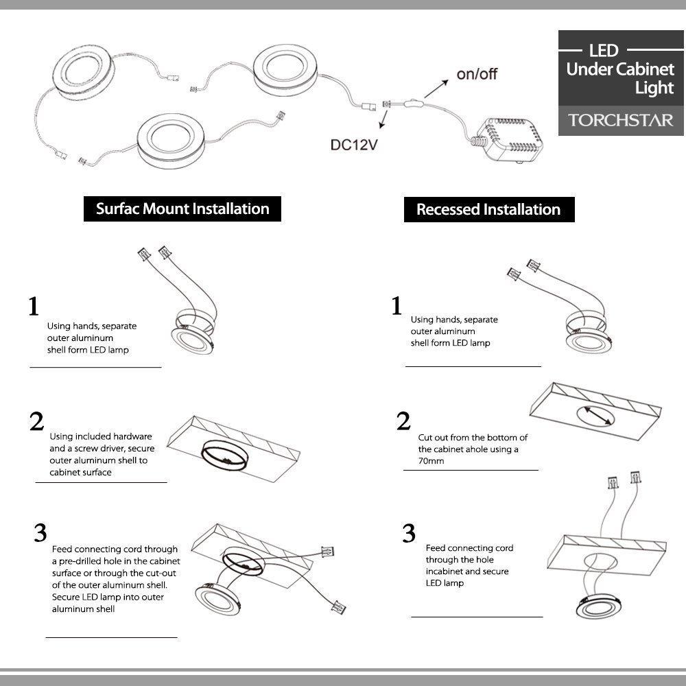 61voSccNXsL._SL1000_ torchstar set of 3 led under cabinet lighting kit 2watt warm white Recessed Wiring Diagram at aneh.co