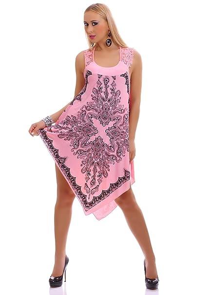 d336c259f6 Vestido de mujer Mini vestido playa vestido Fiesta Vestido Largo hasta la  rodilla Punta Mandala Print rosa 38  Amazon.es  Ropa y accesorios