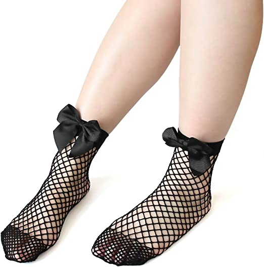 Women Hollow Out Summer Bowknot Short Socks Cotton Ankle Hosiery Fishnet