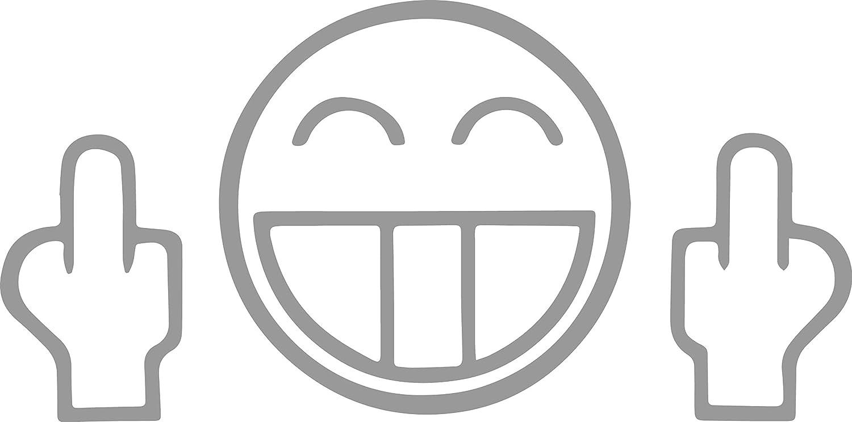Autoaufkleber Fuck You Face Jdm Silber Sticker Aufkleber Tuning Fun Gesicht Stinkefinger Car Lkw Moped Motorrad Simson Bike Zweitakter Auto