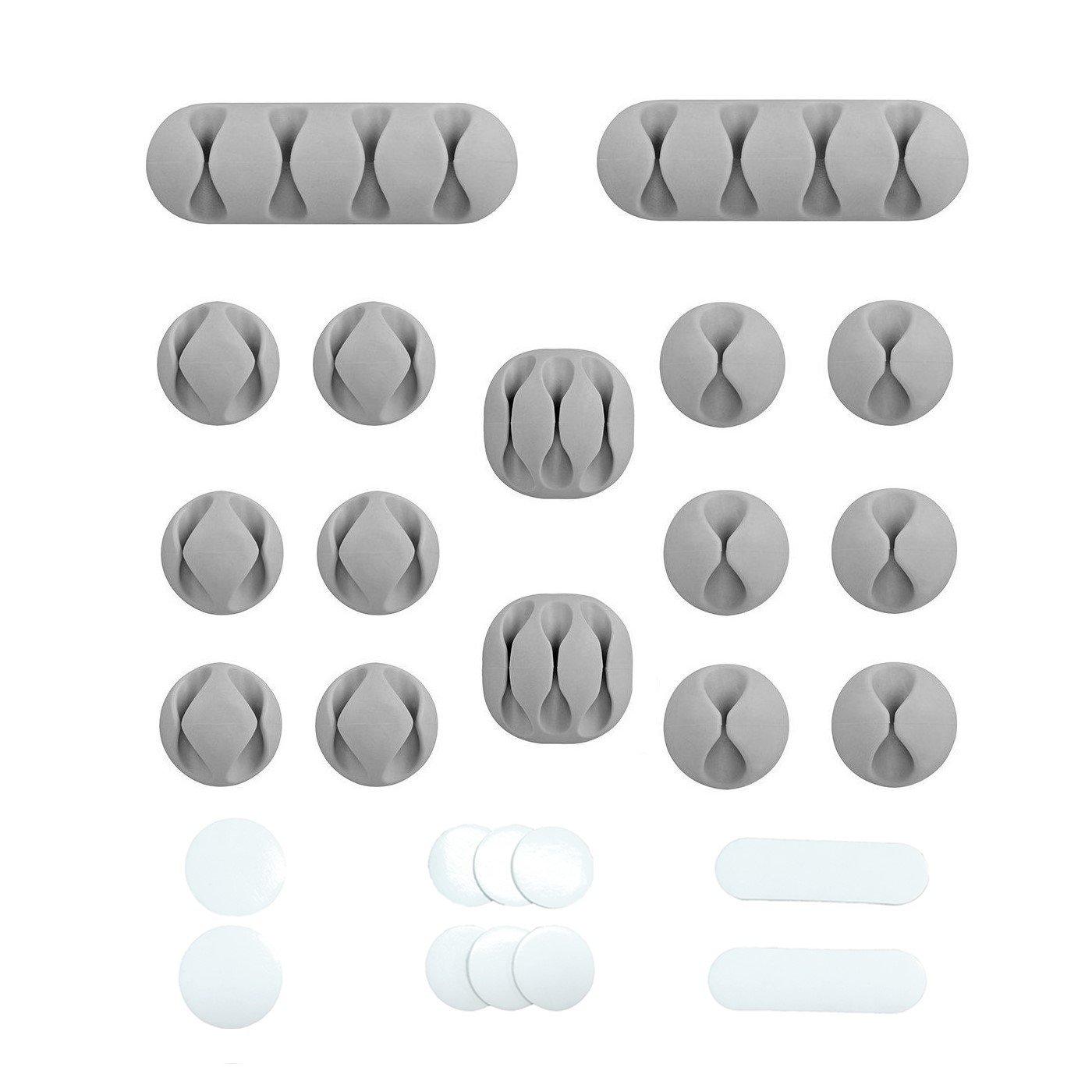 Clip di Cavi con retro adesivo acrilico 10 pezzi adesivi adesivi acrilici di ricambio 16 pezzi grigio cavo e sistema di gestione filo Fermacavo cavo privo di residui