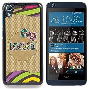 """Modelo del oro arco rayas Polka texto"""" - Metal de aluminio y de plástico duro Caja del teléfono - Negro - HTC Desire 626 626w 626d 626g 626G dual sim"""