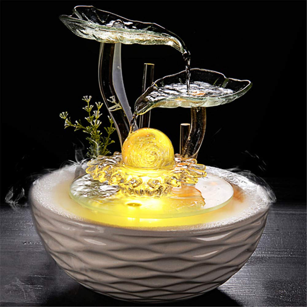 Warmcolor Ceramic Water Fountain Humidifier Home Decoration Craft Gift Living Room Office Decoration,Warmcolor