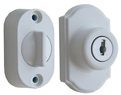 Ideal Security DX Keyed Deadbolt For Storm And Screen Doors Easy To Install  White