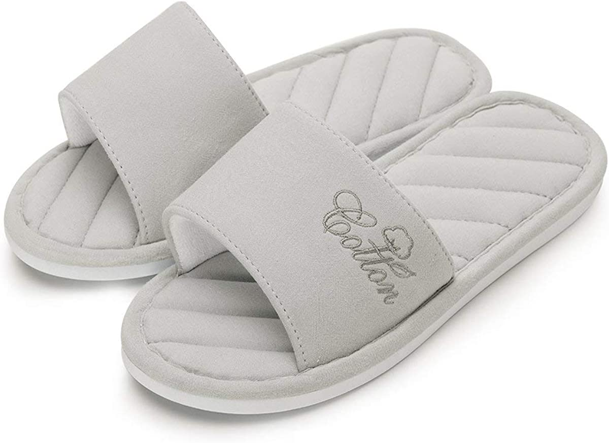 Caramella Bubble Womens Open Toe Memory Foam Summer Cotton Spa House Slippers