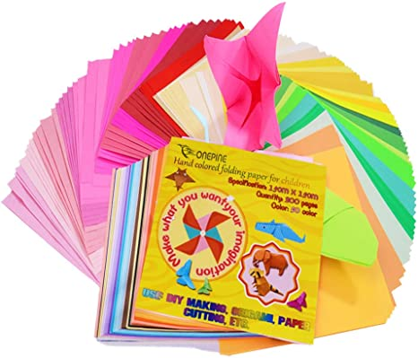 400 Sheets 50 Vivid Colors Single Sided Origami Paper for Arts Crafts Projects