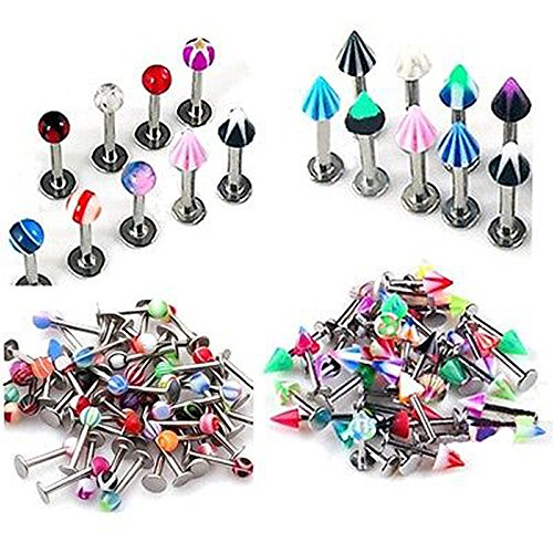 SQDeal 100PCS Colorful Stainless Steel 16 Gauge UV Labret Lip Tragus Bars Barbell Rings Earring Stud Body Jewelery (Lip Piercing Ring Stud)