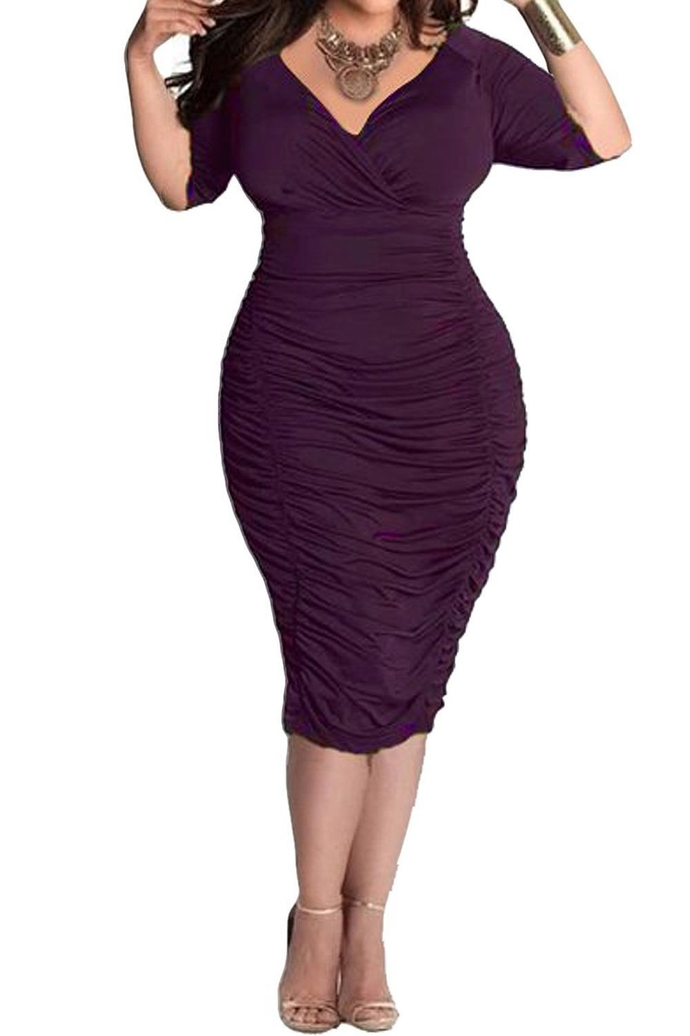 POSESHE Womens V Neck Low Bust Cascading Ruffle Slim Fit Plus Size Dress