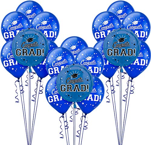 Party City Congrats Grad 18 Count Balloon Kit, 2019 Graduation Party Suppliess with Blue Foil and Latex Balloons -