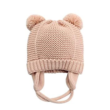 3b556bae065 Erying Infant Baby Boys Girls Knitted Hat Earflaps Cute Kids Beanie Cap  Warm Cuff Winter Bear