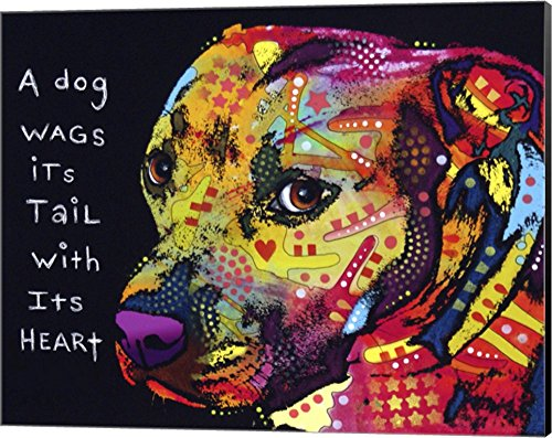(Gratitude Pitbull by Dean Russo Canvas Art Wall Picture, Museum Wrapped with Black Sides, 20 x 16 inches)