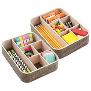 mDesign Plastic Woven Home, Office Storage Tray - Divided for Cabinet, Countertop, Desk, Workspace - for Gel Pens, Colored Pencils, Erasers, Tape, Paper Clips, 6 Compartments, 2 Pack - Pearl Champagne