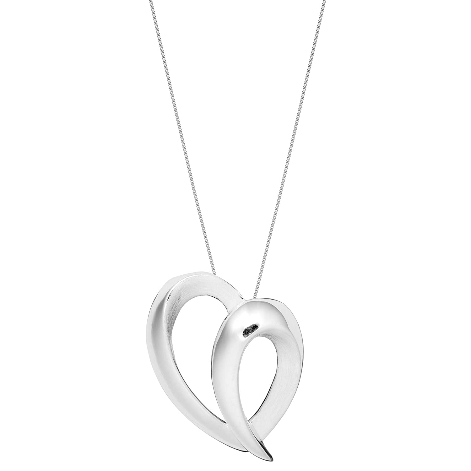 Silverly Womens .925 Sterling Silver Hidden Bail Brushed Curved Heart Pendant Necklace 18