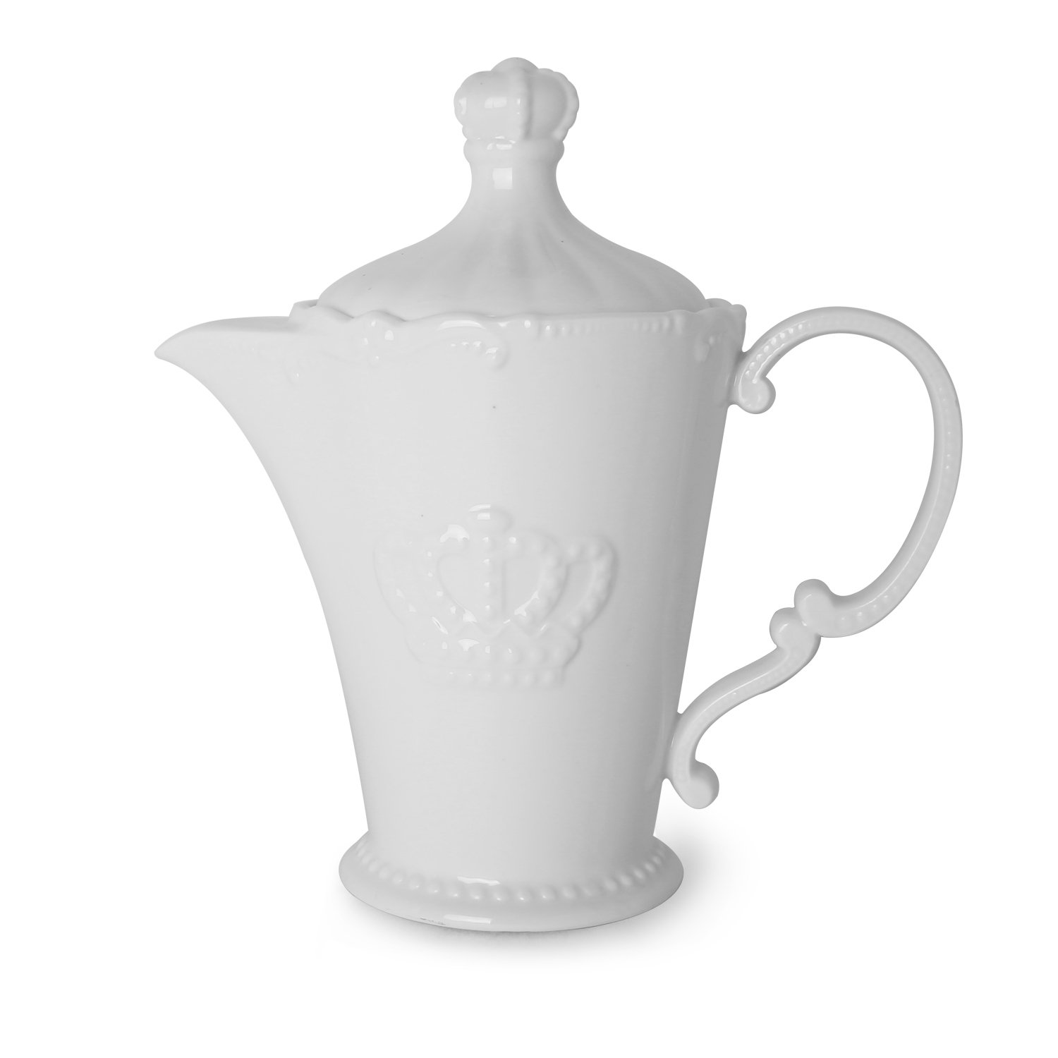 White Ceramic Embossed  Crown Teapot