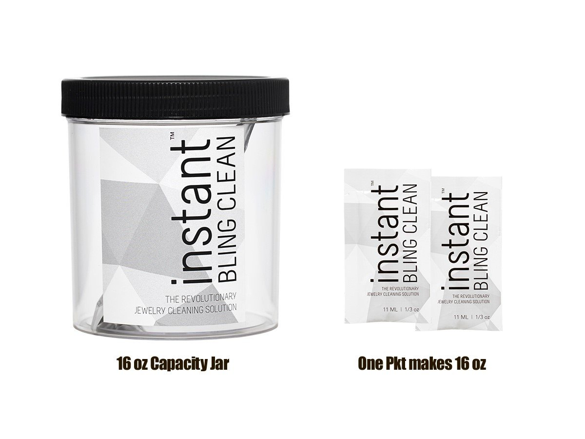 instant BLING CLEAN Jewelry Cleaner Solution Bundle - 2 Packets (Makes 32 oz) & get a 16 oz Jumbo Jewelry Jar.