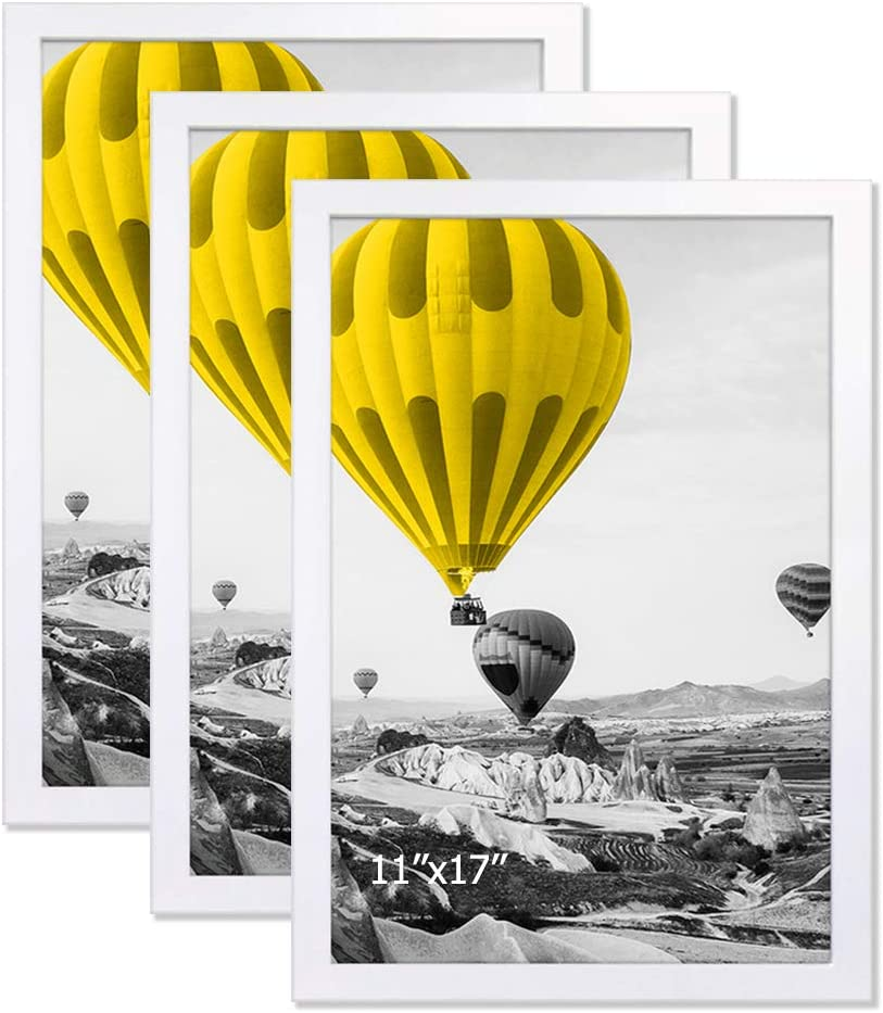 3 Pack THREELOVE 11x17 Frame White Poster Frame Made of Solid Wood for Wall Mounting 11x17 Picture Frame