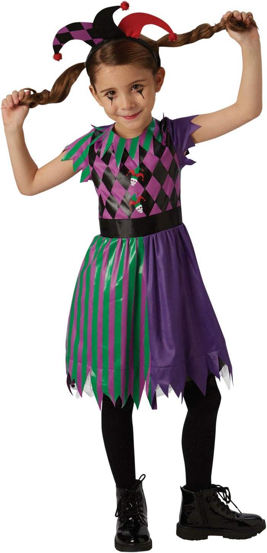 Rubies Disfraz oficial de Harlequin Jester para niñas de circo ...