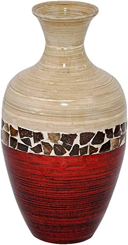 Heather Ann Creations W33954-CNTMRD Crafted Classic Large Water Jug Spun Bamboo Vase, Natural Red