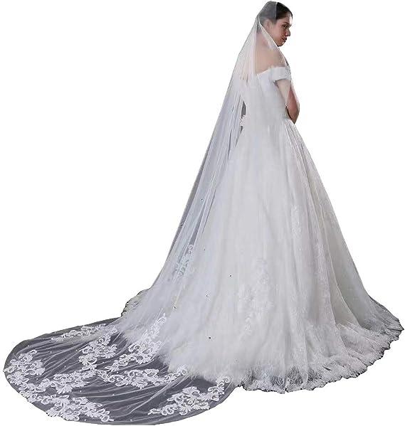 AZNA Hochzeit Schleier Kathedrale L/änge Lace Edge Soft T/üll Sheer Long Brautschleier mit Kamm, 3M