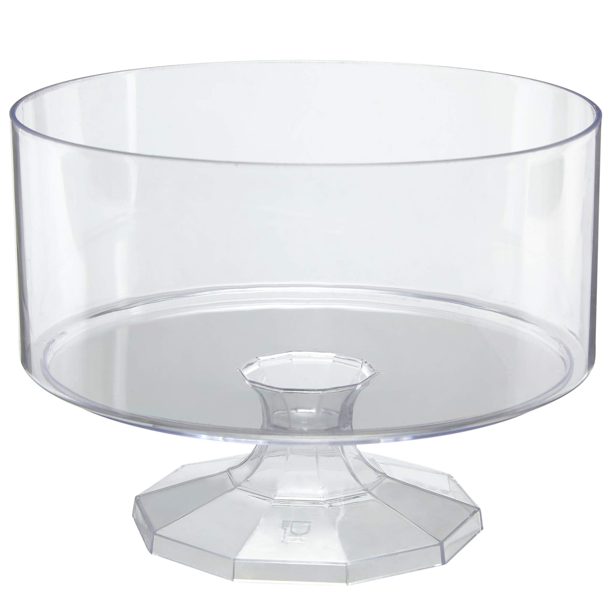 "Disposable Pedestal Trifle Bowl, 3 Pack – 8"" Round Clear Elegant Plastic Food and Dessert Server With Decorative Base for Buffet Tables, Parties and Events - Ultra Durable and Reusable - by Prestee"