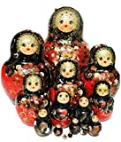 Dream Red 15 Piece Nesting Doll Hand Painted Authentic Russian Babushka. One-of-a-kind Work of Art Signed by Artist