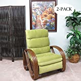 Urban Design Furnishings Made in USA Kailua Rattan Recliner Chair Apple Fabric (Walnut finish) 2-PACK