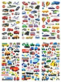 3D-SET048-TRANSCAR - 6 Sheets 3D Stickers For Kids - Puffy Dimensional Stickers - (Car, Bus, Airplane, Jet, Sailboat, Train, Marine, Racing) - Vehicle Stickers, Size 3.75 X 7.5 Inch./sheet