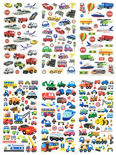 3D-SET048-TRANSCAR - 6 Sheets 3D Stickers For Kids - Puffy Dimensional Stickers - (Car, Bus, Airplane, Jet, Sailboat, Train, Marine, Racing) - Vehicle Stickers, Size 3.75 X 7.5 (Zombie Dress Up Ideas)