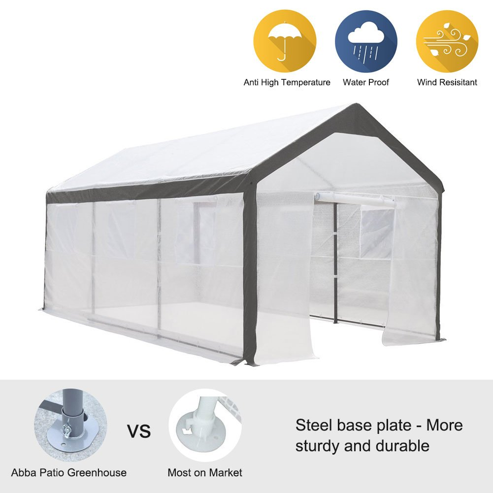 Abba Patio 10 x 20-Feet Large Walk in Fully Enclosed Lawn and Garden Greenhouse with Windows, White by Abba Patio (Image #1)