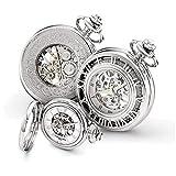 Charles Hubert Chrome-finish Skeleton Case Pocket Watch