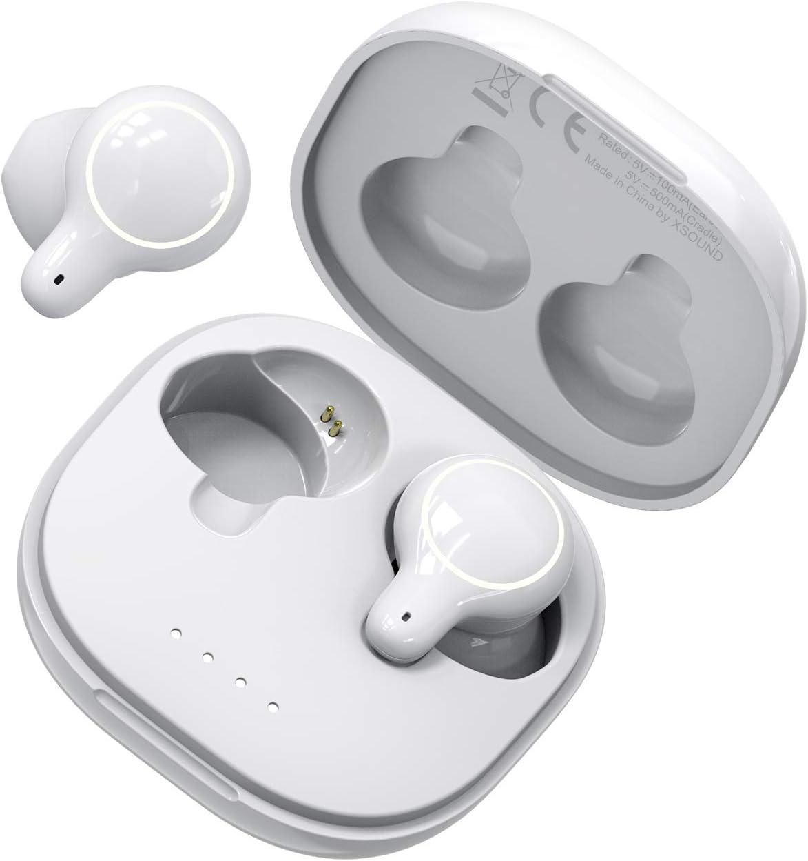 HolyHigh Auriculares Bluetooth 5.0 Auriculares Inalambricos Bluetooth Airpods Sonido Estéreo Hi-Fi Auriculares Inalambricos Deportivos IPX5 Impermeable con 500mAh Estuche de Carga para iOS Android