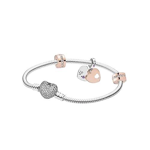 4f33570bf902 belinia prestige - Pulsera para Mujer - Pulsera con dijes de corazón +  Charm de Oro Rosa + Joyero para Pulsera y Charm