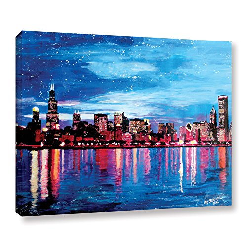 Dusk Canvas Art - Art Wall 'Chicago Skyline at Dusk' Gallery Wrapped Canvas Artwork by Martina Bleichner, 24 by 32-Inch