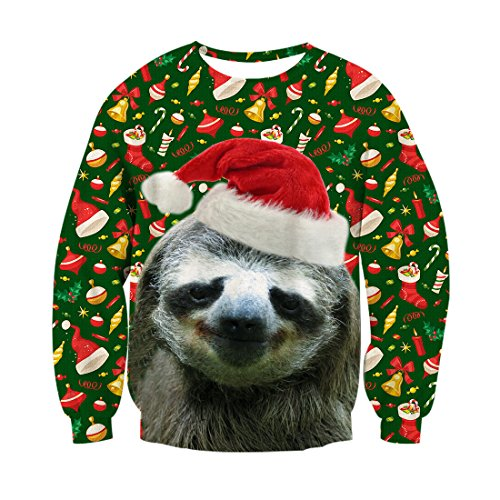 RAISEVERN Unisex Ugly Christmas Sloth Decoration Print Funny Xmas Pullover Sweater Sweatshirt for Teen Juniors (Christmas Jumper Decorations)