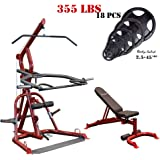 Gym Basis Body-Solid #GLGS100 Corner Leverage Gym with #GFID100 Bench (Red Frame) (with Black Olympic Plates Set, 355-Pound)