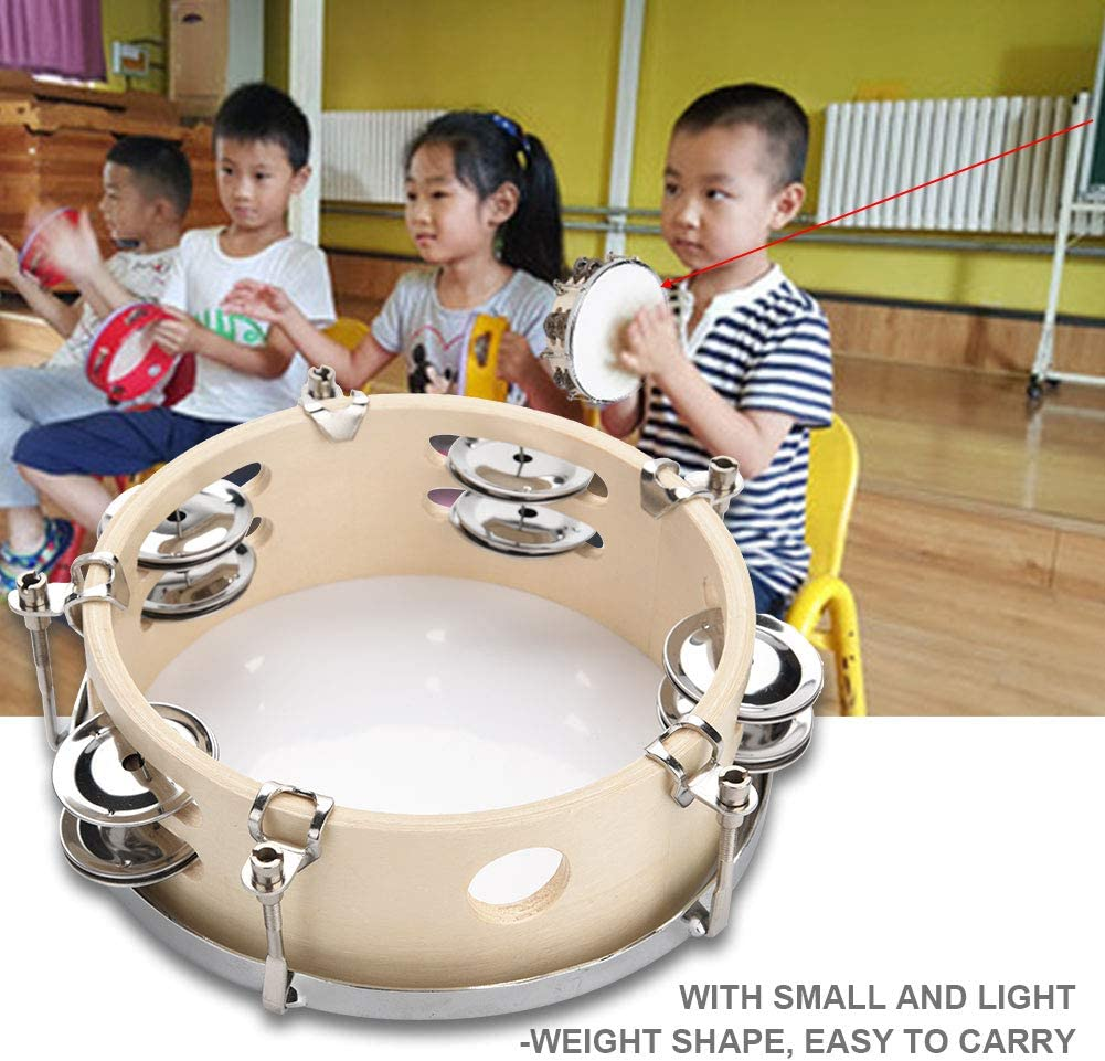 Vbestlife 6 inch Tunable Wood Handheld Tambourine,Rattle wth Double Row 4 Pairs Jingles for Kids Practice