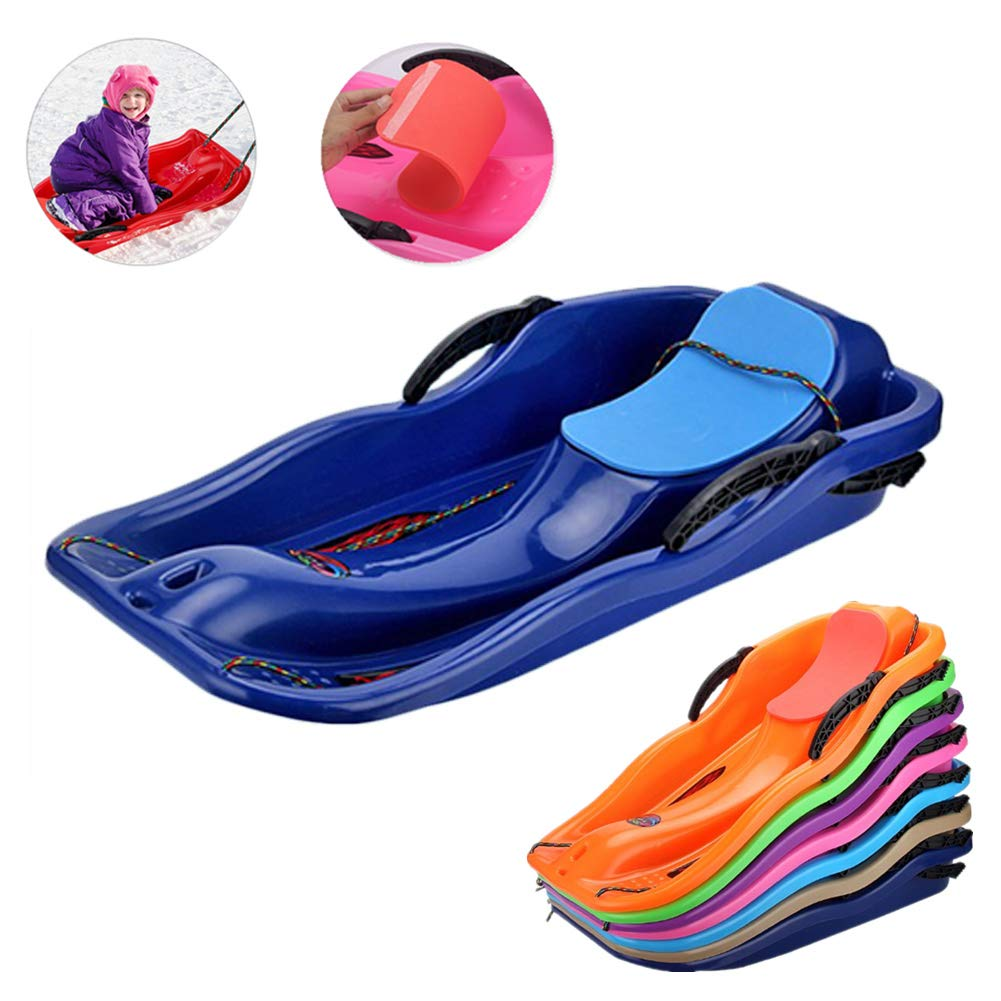 Snow Sled Kids Toboggan with Brakes Anti-Slip Foot Panels – Baby Pull Sled Sand Grass Skiing Snowboard Boat Sleigh for Kids