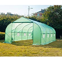 Outsunny 20'x10'x7' Steeple Walk-In Greenhouse Tunnel Garden Grow Plants Protective Shed House, Green