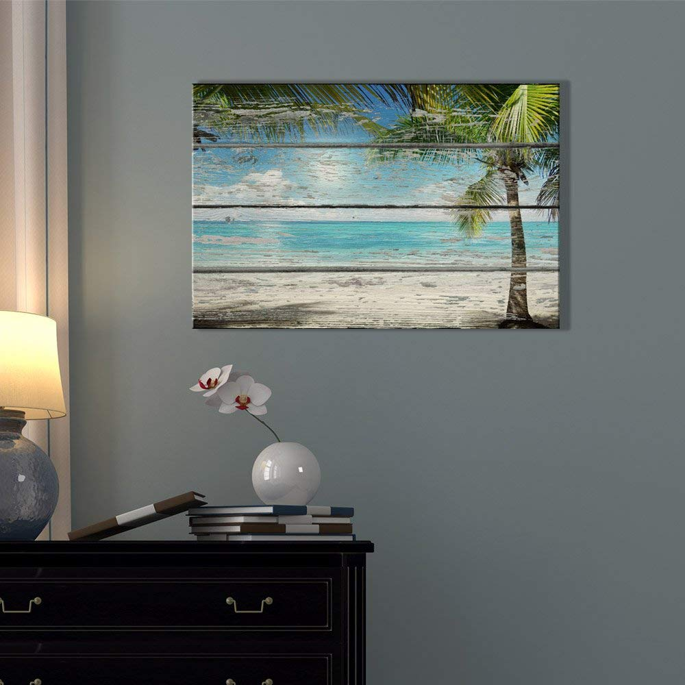 signwin – Canvas Wall Art – White Beach and Coconut Tree- Poster Giclee Wall Decorations for Living Room High Definition Printed – 32×48 inches