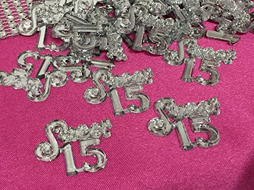 48 Clear Mis Quince Sweet 15 Embellishment Number for Capias Favors Acrylic Confetti]()